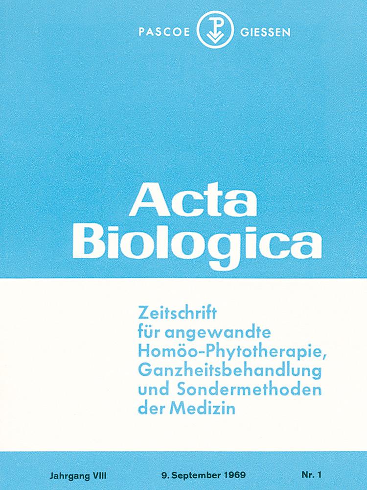 Vedecký časopis Acta Biologica – 1962